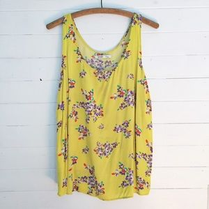 Old Navy Bright Yellow Floral Tank XL